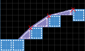 Incorrect slope placement in the room editor.
